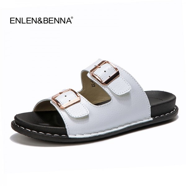 2019 Summer Flats Slip On Leisure Beach Sandals For Ladies Leather Female Flip Flops Flat Sandals Extra Image 1