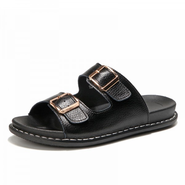 2019 Summer Flats Slip On Leisure Beach Sandals For Ladies Leather Female Flip Flops Flat Sandals Extra Image 2