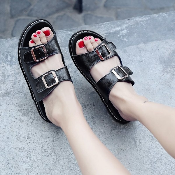 2019 Summer Flats Slip On Leisure Beach Sandals For Ladies Leather Female Flip Flops Flat Sandals Extra Image 6