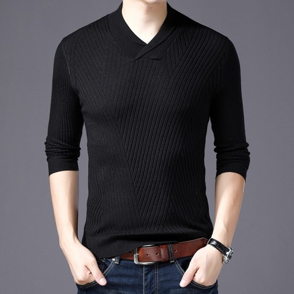2019 Sweater For Mens Pullovers Slim Fit Jumpers Knitwear Warm Autumn Korean Style V Neck Casual Mens Clothes Extra Image 4