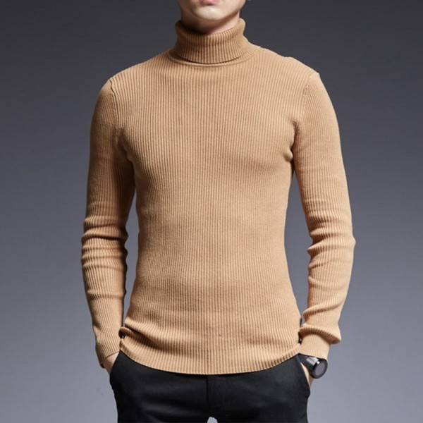 2019 Sweater Mens Pullover Turtleneck Slim Fit Jumpers Knitting Thick Autumn Korean Style Casual Clothing Men Extra Image 2