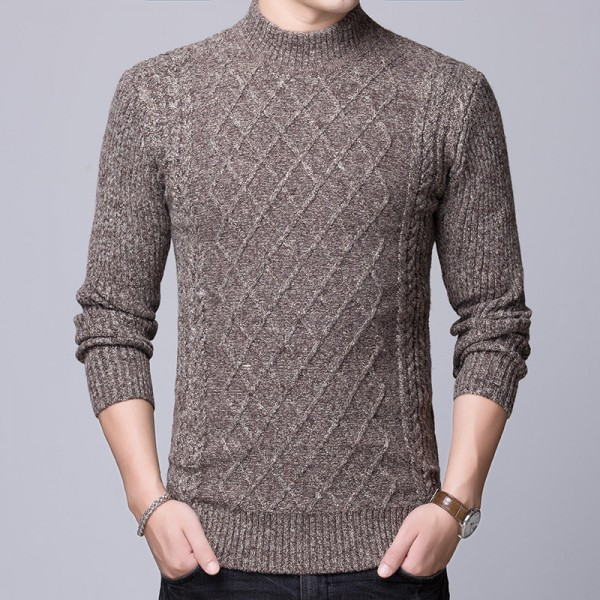 2019 Sweater Mens Pullovers Turtleneck Slim Fit Jumpers Knitted Thick Autumn Korean Style Casual Men Clothes Extra Image 2