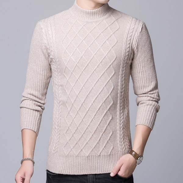 2019 Sweater Mens Pullovers Turtleneck Slim Fit Jumpers Knitted Thick Autumn Korean Style Casual Men Clothes Extra Image 3