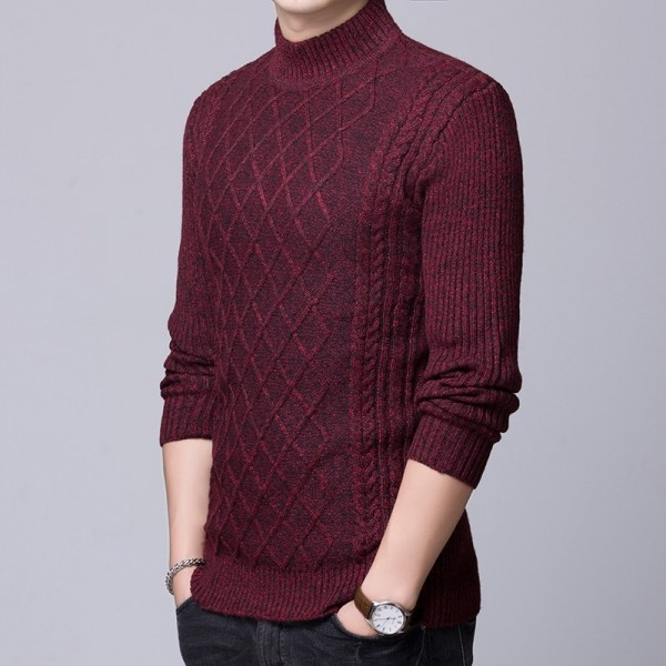 2019 Sweater Mens Pullovers Turtleneck Slim Fit Jumpers Knitted Thick Autumn Korean Style Casual Men Clothes Extra Image 5