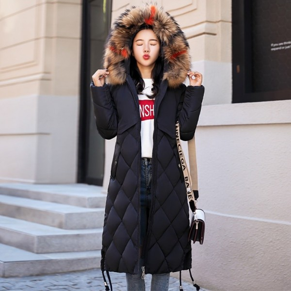 2019 Warm Winter Jacket Women With Colorful Fur Hooded Womens Jackets Winter Outwear Long Female Coat Parka Slim Extra Image 2