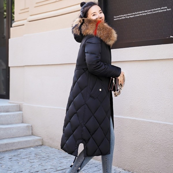 2019 Warm Winter Jacket Women With Colorful Fur Hooded Womens Jackets Winter Outwear Long Female Coat Parka Slim Extra Image 3
