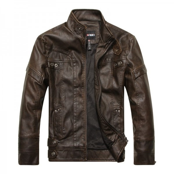 2019 Winter Brown Leather Jacket Men Stand Collar Zipper Up Fur Lining Slim Biker Motorcycle Leather Jacket Extra Image 3