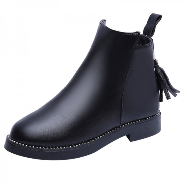 2019 Women Winter Tassel Boots Fashion Warm Side Zipper Women Shoes Flat  Female Ankle Boots Martin Boots