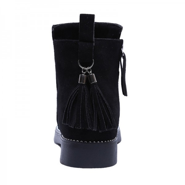 2019 Women Winter Tassel Boots Fashion Warm Side Zipper Women Shoes Flat Female Ankle Boots Martin Boots Extra Image 1