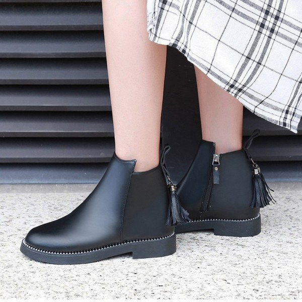 2019 Women Winter Tassel Boots Fashion Warm Side Zipper Women Shoes Flat Female Ankle Boots Martin Boots Extra Image 3