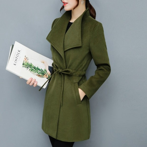 2XL Women Autumn Winter Coats Long Jackets Fashion Long Sleeve Big Lapel Slim Wool Blends Office Woolen Coat Jacket Extra Image 1