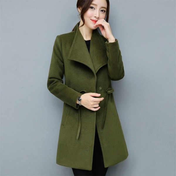 2XL Women Autumn Winter Coats Long Jackets Fashion Long Sleeve Big Lapel Slim Wool Blends Office Woolen Coat Jacket