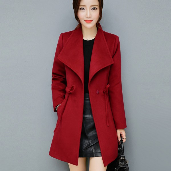 2XL Women Autumn Winter Coats Long Jackets Fashion Long Sleeve Big Lapel Slim Wool Blends Office Woolen Coat Jacket Extra Image 2