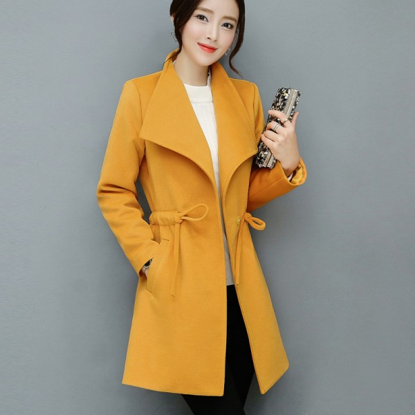 2XL Women Autumn Winter Coats Long Jackets Fashion Long Sleeve Big Lapel Slim Wool Blends Office Woolen Coat Jacket Extra Image 3