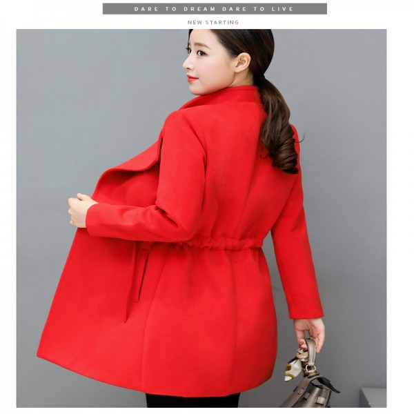 2XL Women Autumn Winter Coats Long Jackets Fashion Long Sleeve Big Lapel Slim Wool Blends Office Woolen Coat Jacket Extra Image 5