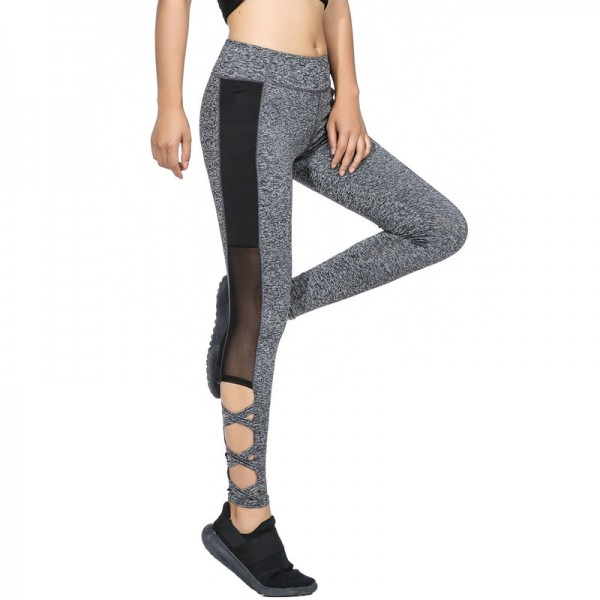 Activewear Mesh Legging Sexy Grey Leggins Black Leggings Spliced Women Autumn Winter Workout Leggings High Waist Extra Image 1