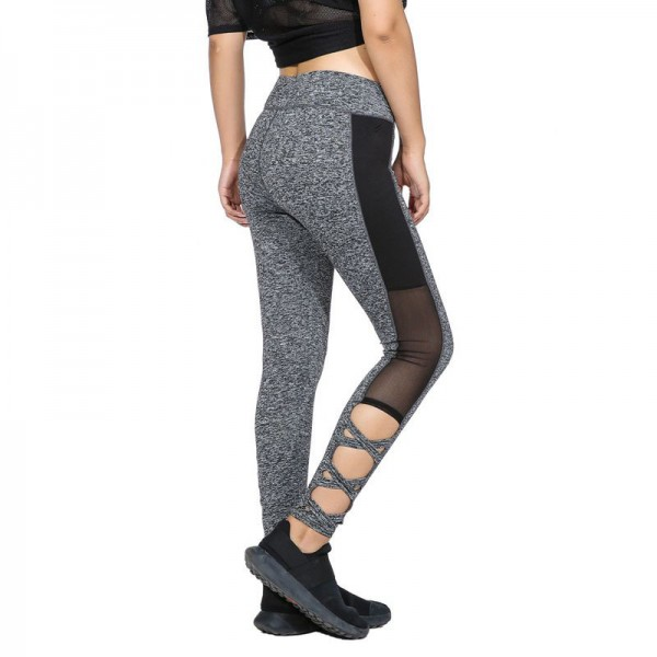 Activewear Mesh Legging Sexy Grey Leggins Black Leggings Spliced Women Autumn Winter Workout Leggings High Waist Extra Image 5