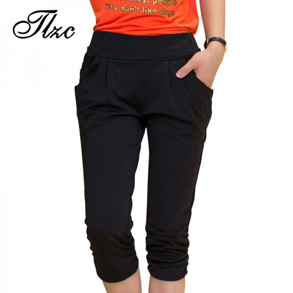All Match Summer Lady Pants Elastic Waist Skinny Pencil Trousers Pants For Women Thumbnail