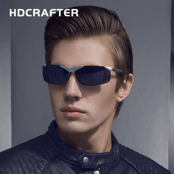 Aluminium Magnesium Polarized Sunglasses For Men Driving UV400 Anti Glare Unisex Round Eyewear Extra Image 1