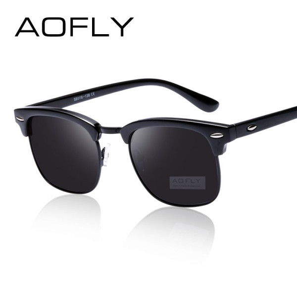 AOFLY Classic Half Metal Polarized Sunglasses Men Women Brand Designer Glasses Mirror Sun Glasses Fashion Gafas