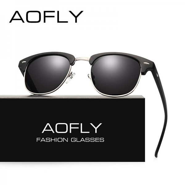 AOFLY Classic Half Metal Polarized Sunglasses Men Women Brand Designer Glasses Mirror Sun Glasses Fashion Gafas Extra Image 3