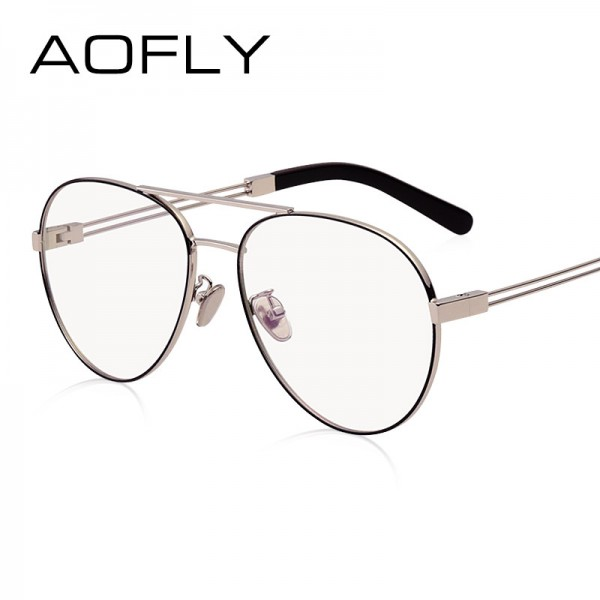 AOFLY Vintage Women Eyeglasses Alloy Metal Frames Women Brand Designers Clear Lens Plain Glasses Transparent Eyewear Extra Image 3