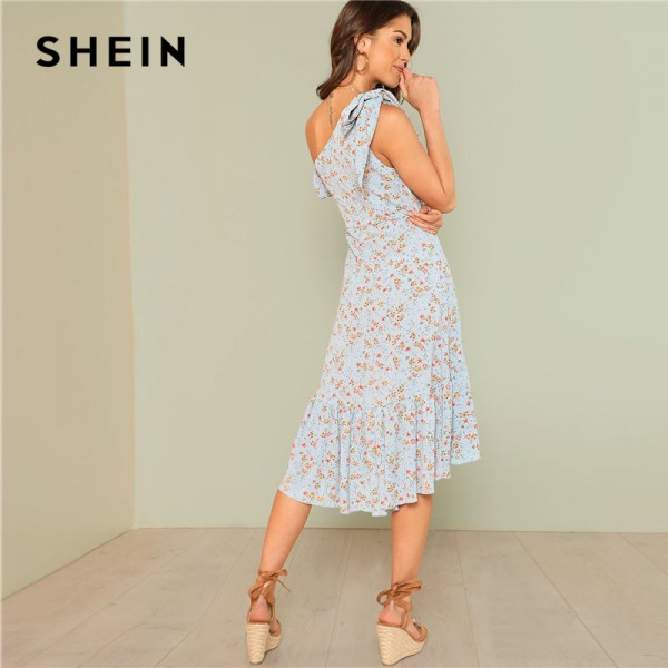 Asymmetric Shoulder Wrap Women Dress Ruffle Short Sleeve Knee Length Floral Dress 2018 Arrival Vacation Dress Extra Image 1