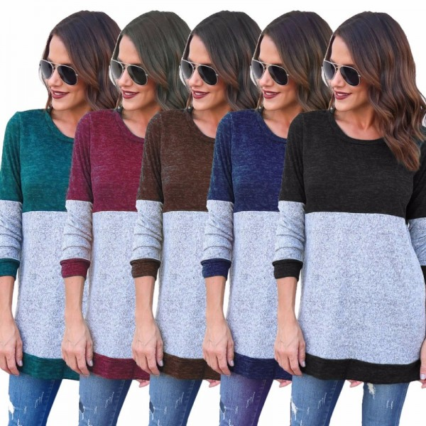 Autumn 2019 Winter Women long Sleeve Loose o neck Sexy loose shirt Sweater Woman Pull cuff sweaters pullover Extra Image 1