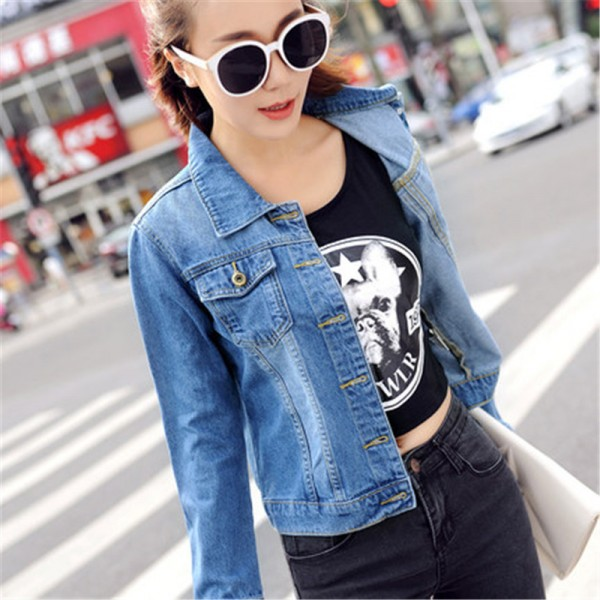 Autumn All Match Short Denim Jacket Women Vintage Casual Single Breasted Jeans Coat Two Pockets Decorated Outwear Extra Image 2