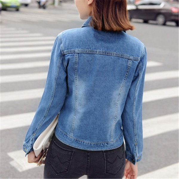 Autumn All Match Short Denim Jacket Women Vintage Casual Single Breasted Jeans Coat Two Pockets Decorated Outwear Extra Image 4