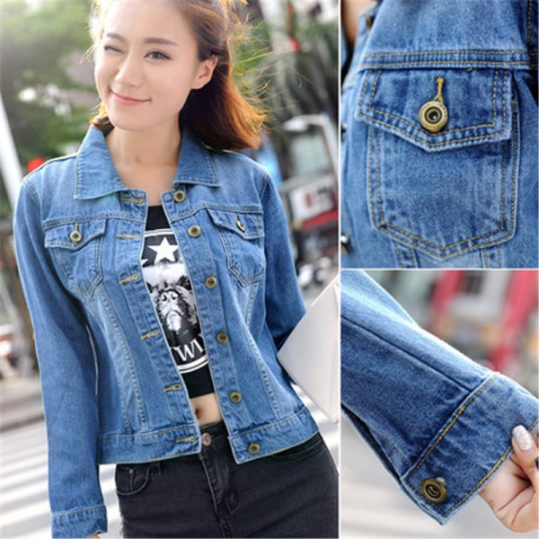 Autumn All Match Short Denim Jacket Women Vintage Casual Single Breasted Jeans Coat Two Pockets Decorated Outwear Extra Image 6