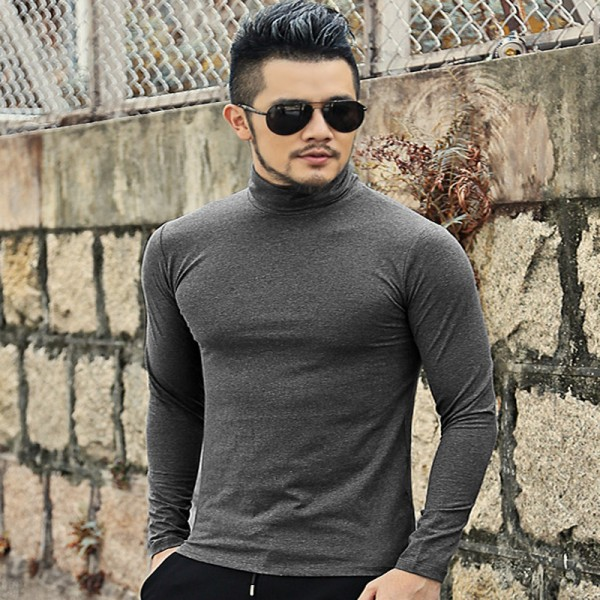 Autumn And spring New Clothes Men Solid Color Bottoming Shirt Slim Stretch Cotton Long Sleeved High Necked T Shirt Extra Image 2