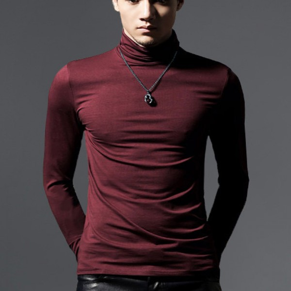 Autumn And spring New Clothes Men Solid Color Bottoming Shirt Slim Stretch Cotton Long Sleeved High Necked T Shirt