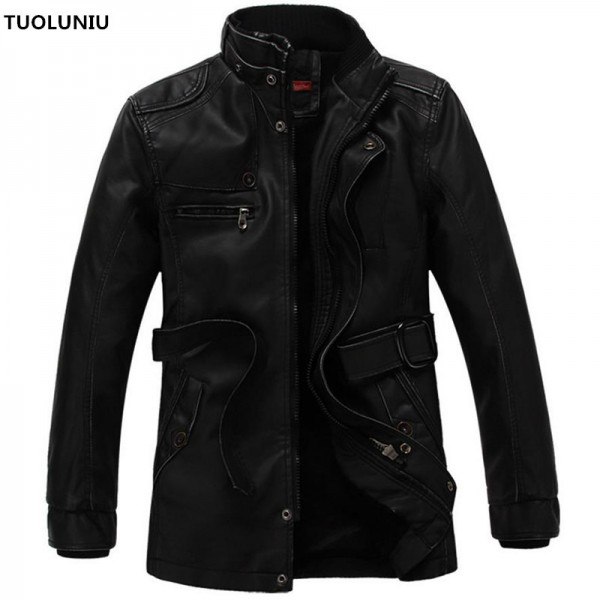Autumn and winter new jacket male PU men leather jacket and jacket fashion leather motorcycle coat brand clothing Extra Image 1