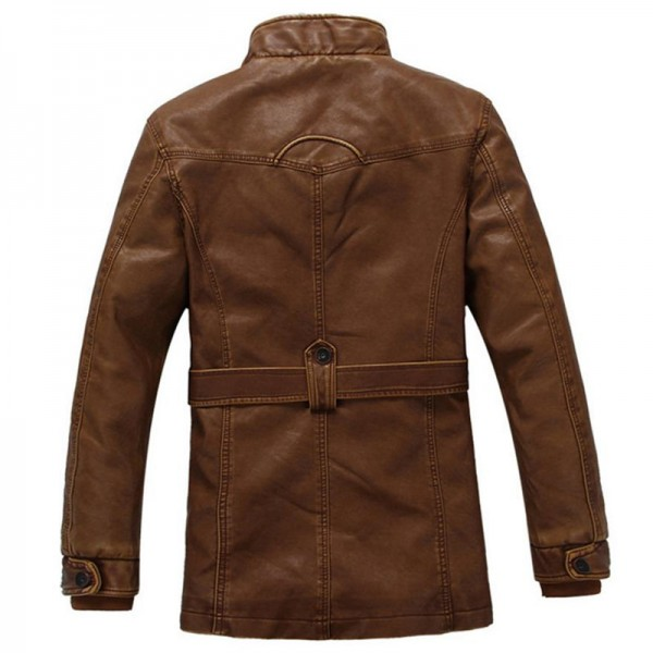 Autumn and winter new jacket male PU men leather jacket and jacket fashion leather motorcycle coat brand clothing Extra Image 3