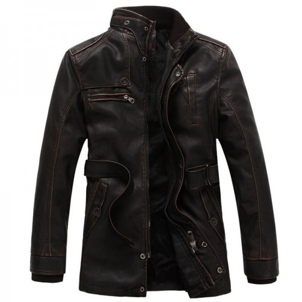 Autumn and winter new jacket male PU men leather jacket and jacket fashion leather motorcycle coat brand clothing Extra Image 4