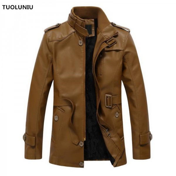 Autumn and winter new jacket PU men leather jacket and coat fashion leather motorcycle brand clothing Leisure Extra Image 1