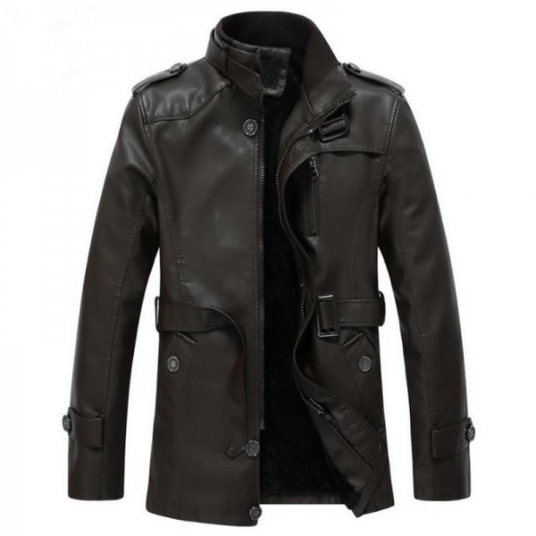 Autumn and winter new jacket PU men leather jacket and coat fashion leather motorcycle brand clothing Leisure Extra Image 5