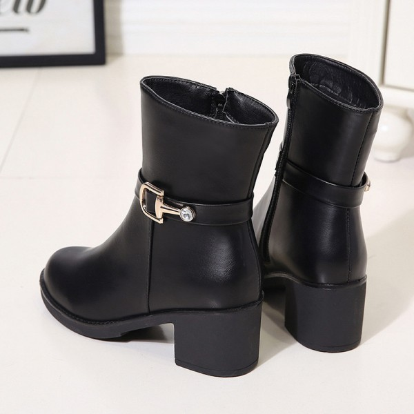 Autumn and winter new womens shoes thick with solid color round head knight boots with side zipper waterproof platform Extra Image 2