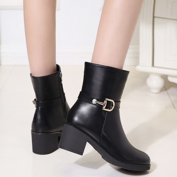 Autumn and winter new womens shoes thick with solid color round head knight boots with side zipper waterproof platform Extra Image 3