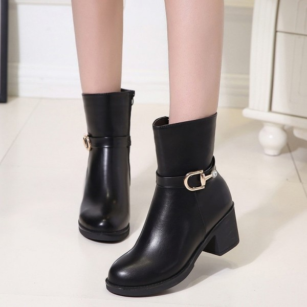 Autumn and winter new womens shoes thick with solid color round head knight boots with side zipper waterproof platform Extra Image 4