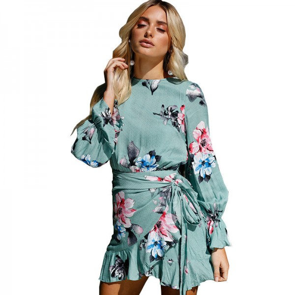 Autumn Asymmetrical Bodycon Bandage Dress Women Print Floral Long Puff Sleeve Ladies Bohemian Mini Shirt Dress