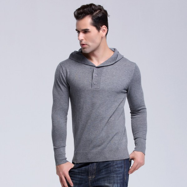 Autumn Brand Mens Solid Hooded Knitted Sweaters Fashion Style  Pullover Mens Sweater Large Size Casual Outwear Extra Image 2