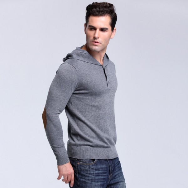 Autumn Brand Mens Solid Hooded Knitted Sweaters Fashion Style  Pullover Mens Sweater Large Size Casual Outwear Extra Image 3
