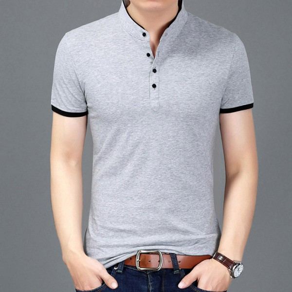 Buy autumn fashion brand t shirt men solid color slim fit for Solid color short sleeve dress shirts