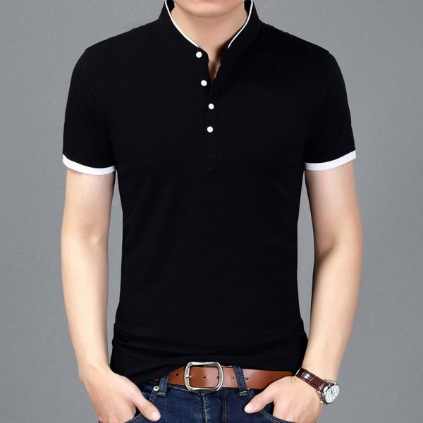 Autumn Fashion Brand T Shirt Men Solid Color Slim Fit Short Sleeve Tees Men Mandarin Collar Casual Shirts For Boys