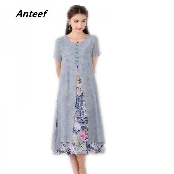 Autumn Fashion Long Dress Vintage Printed Cotton Linen Summer Autumn Style Party Casual Female Dress Extra Image 1