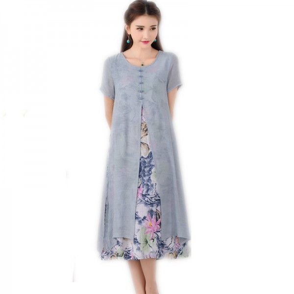 Autumn Fashion Long Dress Vintage Printed Cotton Linen Summer Autumn Style Party Casual Female Dress Extra Image 3