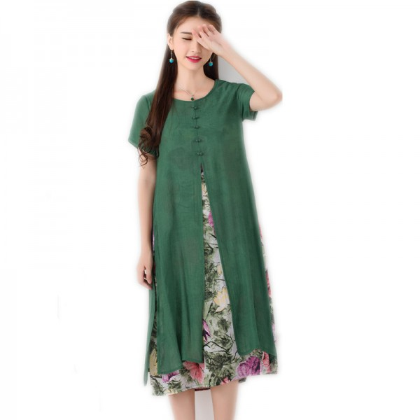 Autumn Fashion Long Dress Vintage Printed Cotton Linen Summer Autumn Style Party Casual Female Dress Extra Image 5