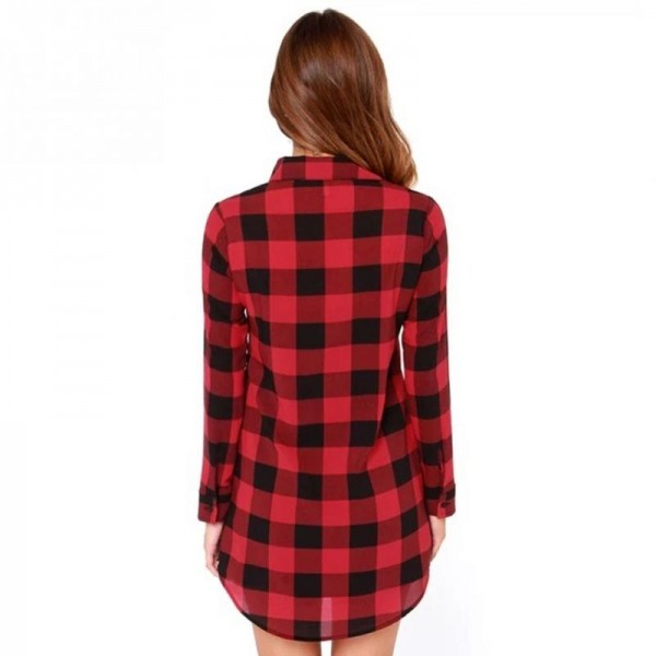 Autumn Fashion Shirt For Women Red Plaid Printed Feminine Winter Casual Plus Size Tops Outwear Shirt Extra Image 1